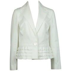 Valentino White Cotton Jacket with Peplum Ruffles