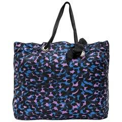 LANVIN Tote Bag in Blue, Purple, Black Printed Fabric