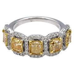 2.73 Carat Five-Stone Radiant Natural Yellow Diamonds Ring in 18 Karat Gold