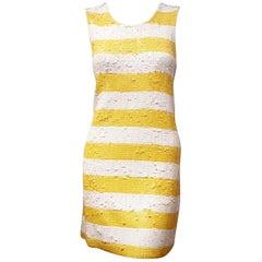 Alice + Olivia White & Yellow Stripes Sequined Short Dress