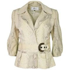 4/25 Jitrois Cream Snakeskin Jacket Sz IT44