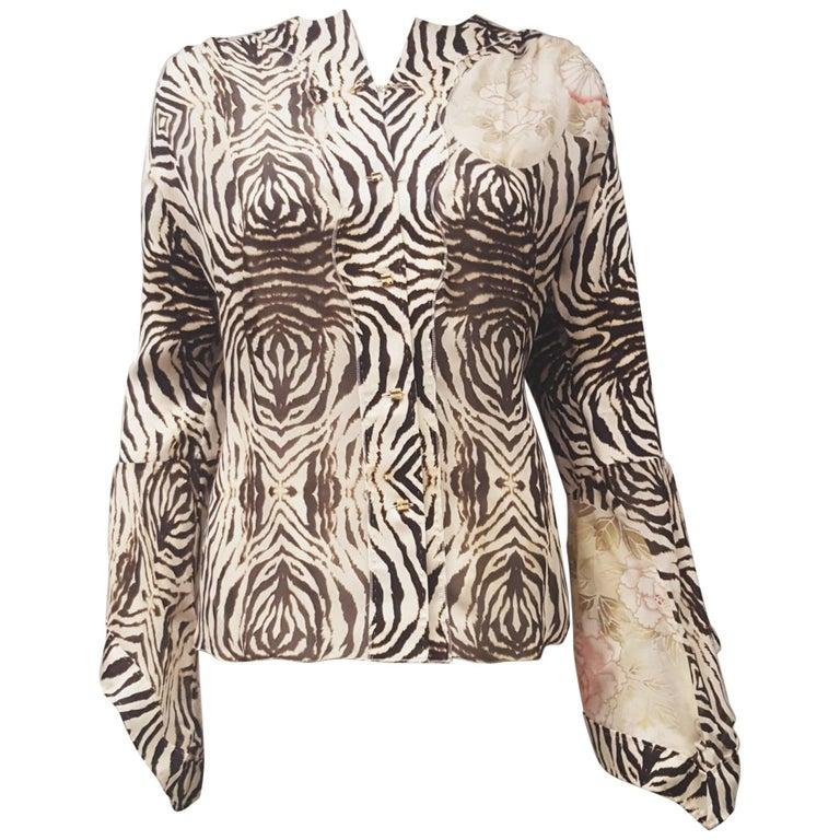 Roberto Cavalli Silk Zebra Print Long Sleeve Flared Cuff, w/Goldtone Buttons