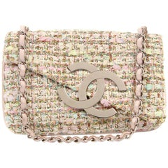 Chanel Pink Multi Color Tweed CC Flap Bag