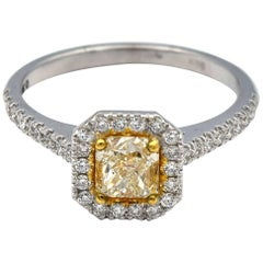 0.90ct Radiant Natural Yellow Diamond Ring with White Pave Diamonds in 14k WG