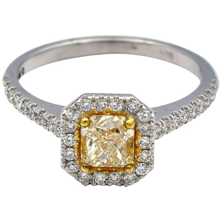 af34fa123c6a3a 0.90ct Radiant Natural Yellow Diamond Ring with White Pave Diamonds in 14k  WG For Sale