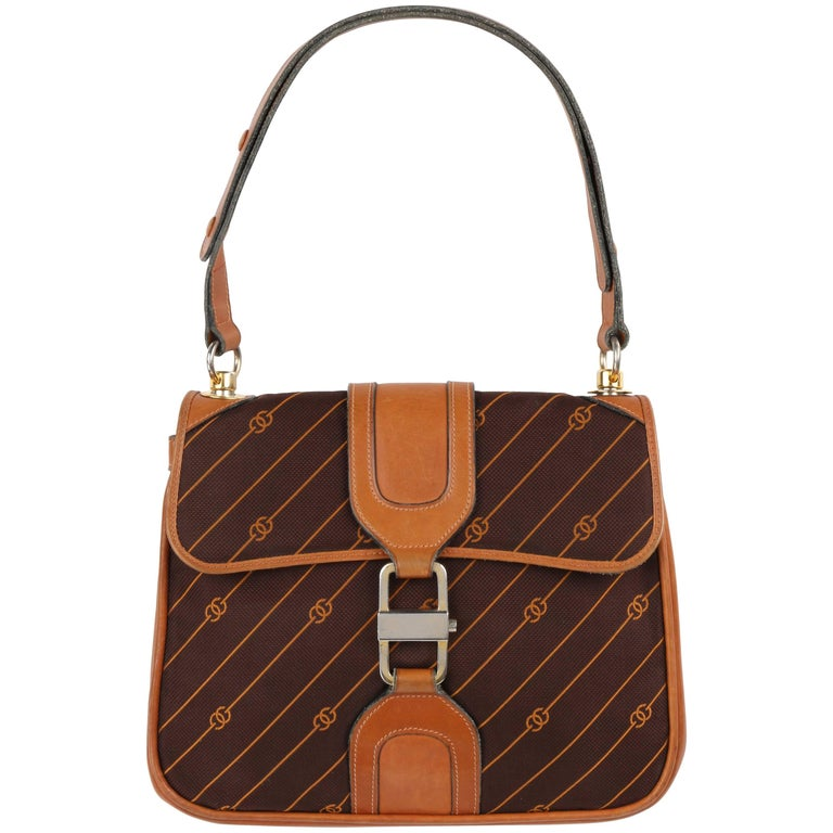 GUCCI c.1970's Brown GG Monogram Jacquard Tan Leather Flap Top Shoulder Bag RARE