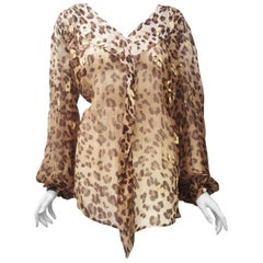 Blumarine Leopard Print Silk Long Sleeve Ruffle Top with Gold Tone Accents