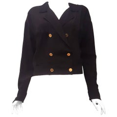 Chanel Black Silk Bomber Style Jacket with Gold Tone Coco Chanel Logo Buttons