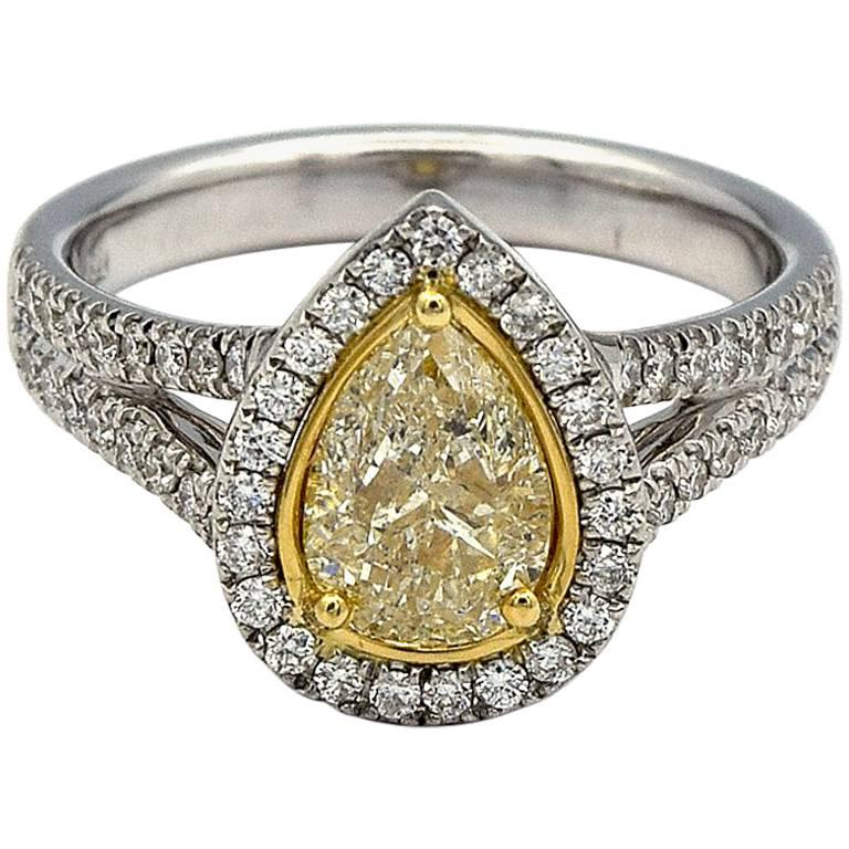 98105c51a886b2 1.00ct Pear Shape Natural Yellow Diamond Ring with White Pave Diamonds in  14K WG For