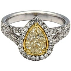 1.00ct Pear Shape Natural Yellow Diamond Ring with White Pave Diamonds in 14K WG