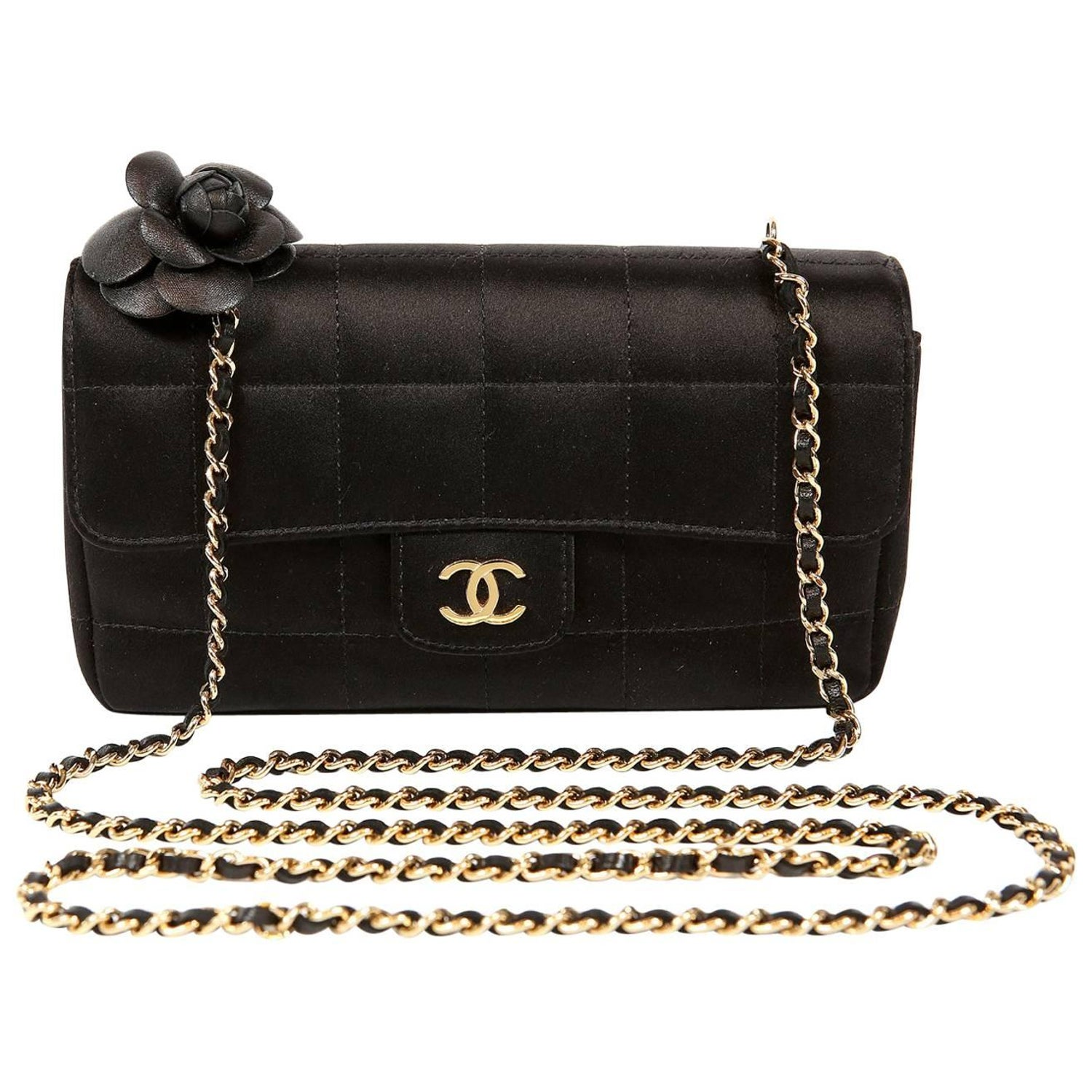 c087f0173742 Chanel Black Satin Camellia Cross Body Bag For Sale at 1stdibs