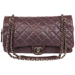 Chanel Purple Caviar Easy Zip Classic Flap Bag- Large
