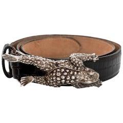 Kieselstein-Cord Sterling Silver Frog Buckle & Black Embossed Leather Belt