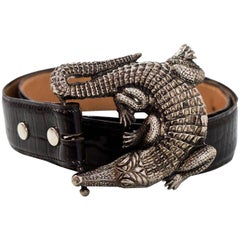 Kieselstein-Cord Sterling Silver Alligator Buckle w/ Black Embossed Leather Belt