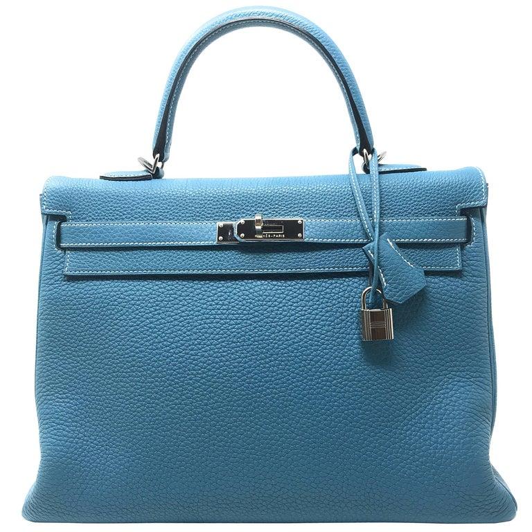 f48094de7473 Hermes Kelly 35cm Blue Jean For Sale at 1stdibs