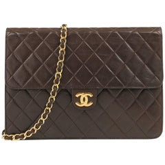 CHANEL c.1990's Brown Diamond Quilted Lambskin Leather Classic Flap Bag