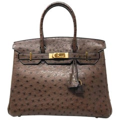 Hermes Birkin 30cm Chocolate Brown Ostrich