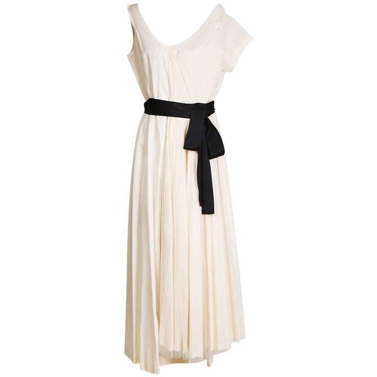 Comme Des Garcons Cream Cotton Dress with Pleated Tulle and Black Satin Belt