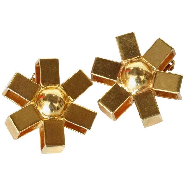 William De Lillo Gold Asterisk Clip Earrings For Sale