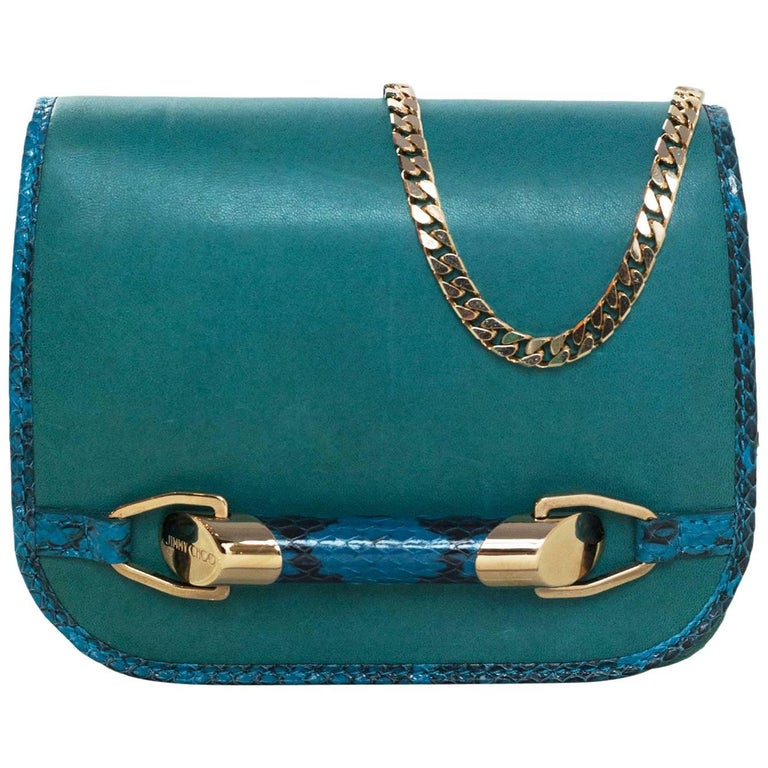 Jimmy Choo Turquoise Leather & Snakeskin Zadie Crossbody Bag with Dust Bag