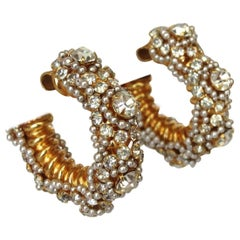 William De Lillo Crystal Rhinestone Encrusted Hoops