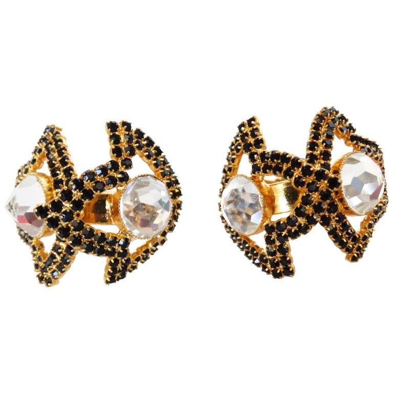 William De Lillo Black Rhinestone Hoop Clip Earrings For Sale