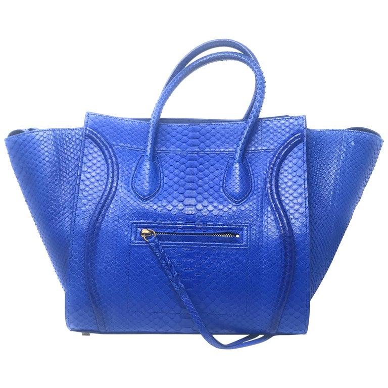 bdf959f5022d Celine Phantom Blue Python Bag For Sale at 1stdibs
