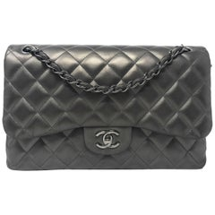Chanel Double Flap Jumbo Gunmetal Grey