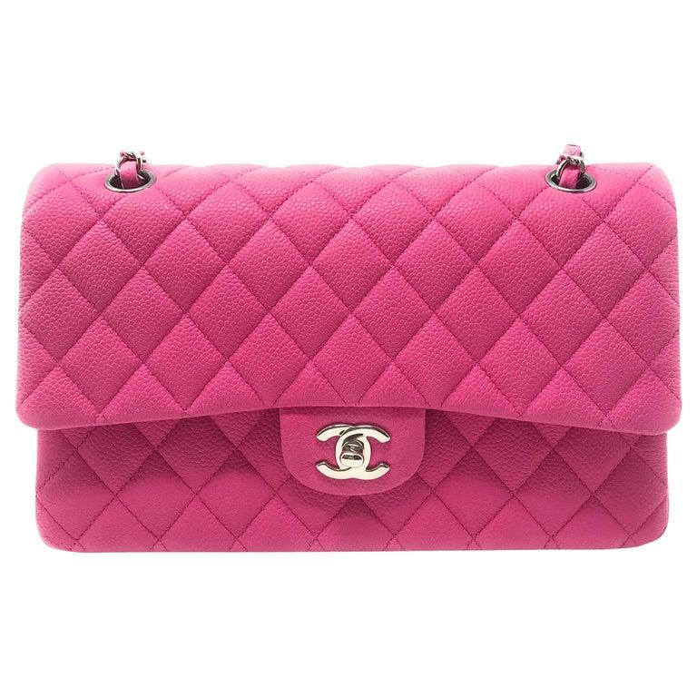 Chanel Medium Double Flap Hot Pink Matte Caviar For