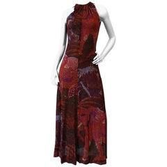 1970s Pointillism Elephant Print Sleeveless Maxi Dress