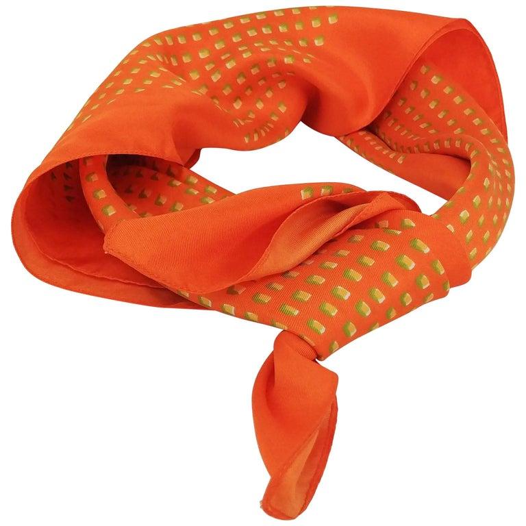 1960's Liberty of London Orange Printed Silk Scarf