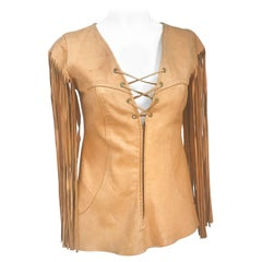 1970's Leather Top with Fringe Sleeves