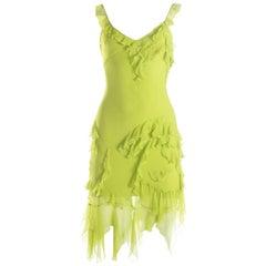 Christian Dior neon green silk chiffon ruffled mini dress, S / S 2005
