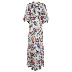 1930's Floral Garden Print Chiffon Bias-Cut Gown & Billow-Sleeve Smocked Jacket