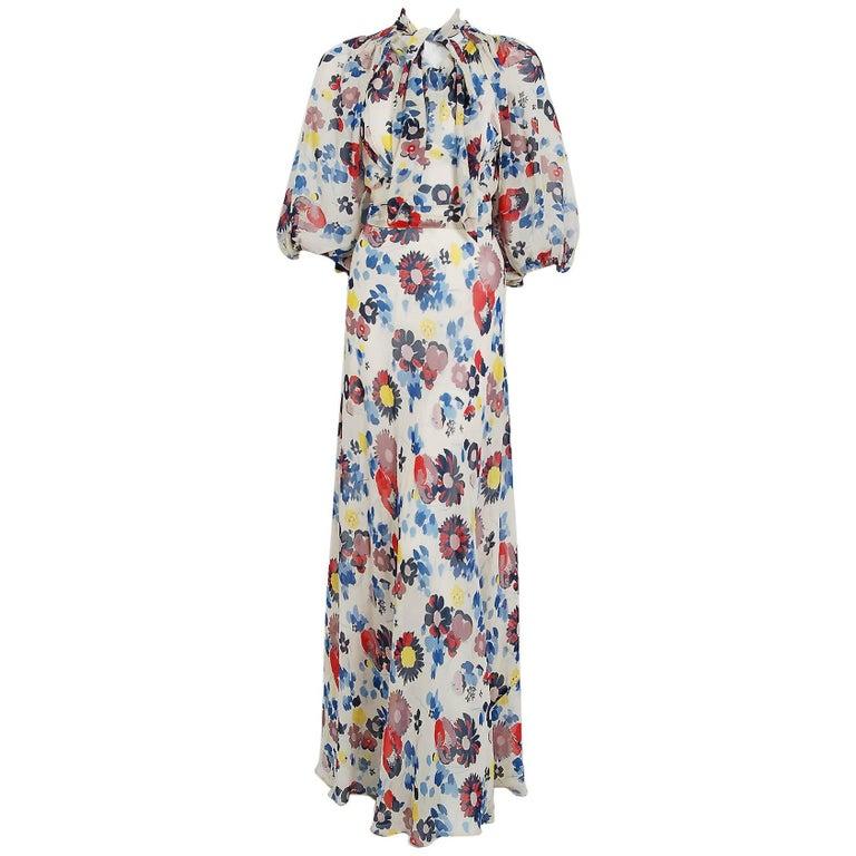 1930's Floral Garden Print Chiffon Bias-Cut Gown & Billow-Sleeve Smocked Jacket