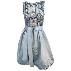 1950s Grey Sequin Cocktail Dress