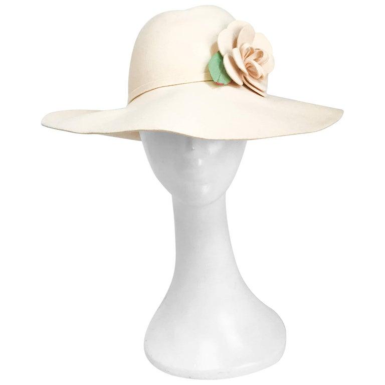 1970s Adolfo Cream Felt Hat with Handmade Flower Embellishment