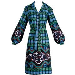 Lanvin Vintage Colorful Op Art Geometric Print Shirt Dress with Sash Belt, 1970s