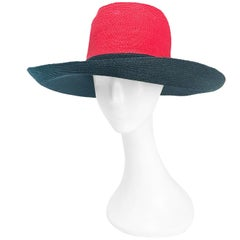1970s Frank Olive Red and Black Wide-Brimmed Hat