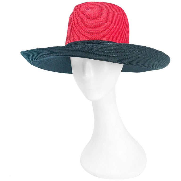 1970s Frank Olive Red and Black Wide-Brimmed Hat For Sale