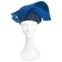 1980s Blue and Gold-tone Structured Hat