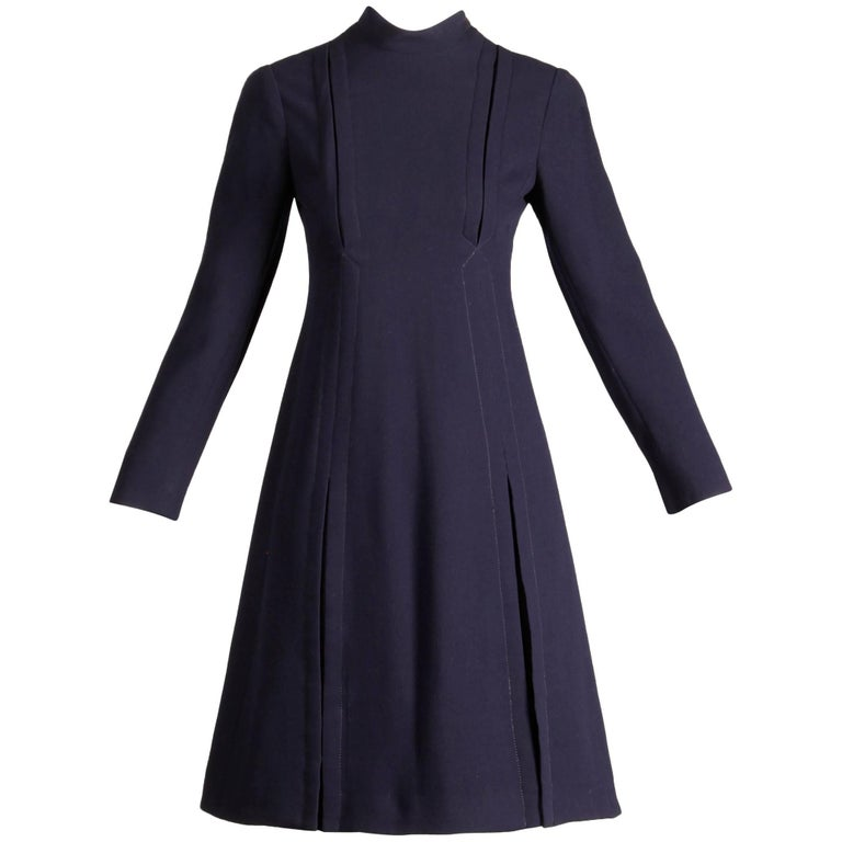 1960s Geoffrey Beene Vintage Navy Wool/ Silk Pleated Mod Dress with Long Sleeves
