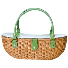 New Kate Spade Spring 2005 Large Green Wicker Basket Bag