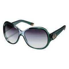 New Balenciaga Emerald Green Reflective Sunglasses With Case