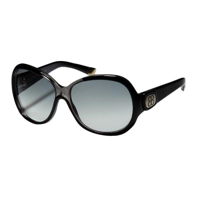 New Balenciaga Black Reflective Sunglasses With Case For Sale