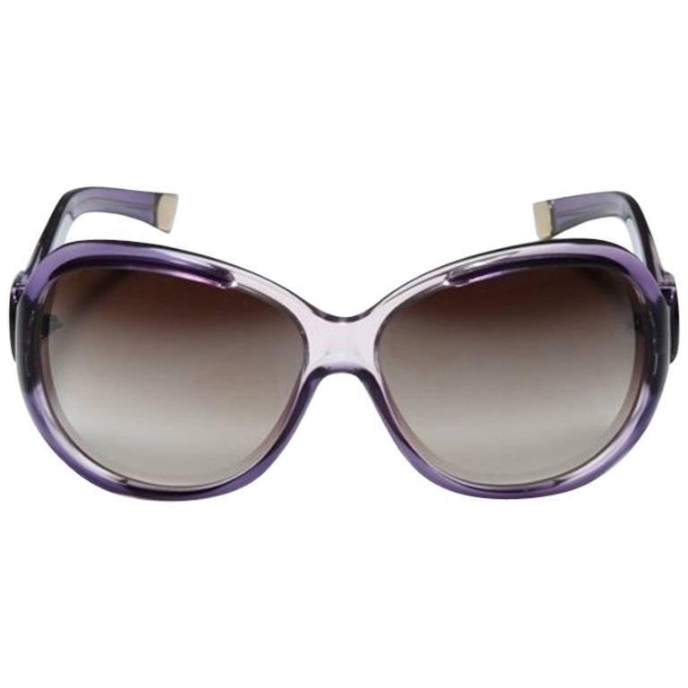 Gray New Balenciaga Purple Reflective Sunglasses With Case For Sale