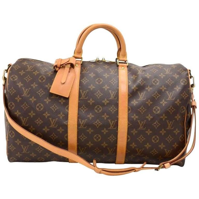 Vintage Louis Vuitton Keepall 50 Bandouliere Monogram Canvas Duffel Travel Bag For