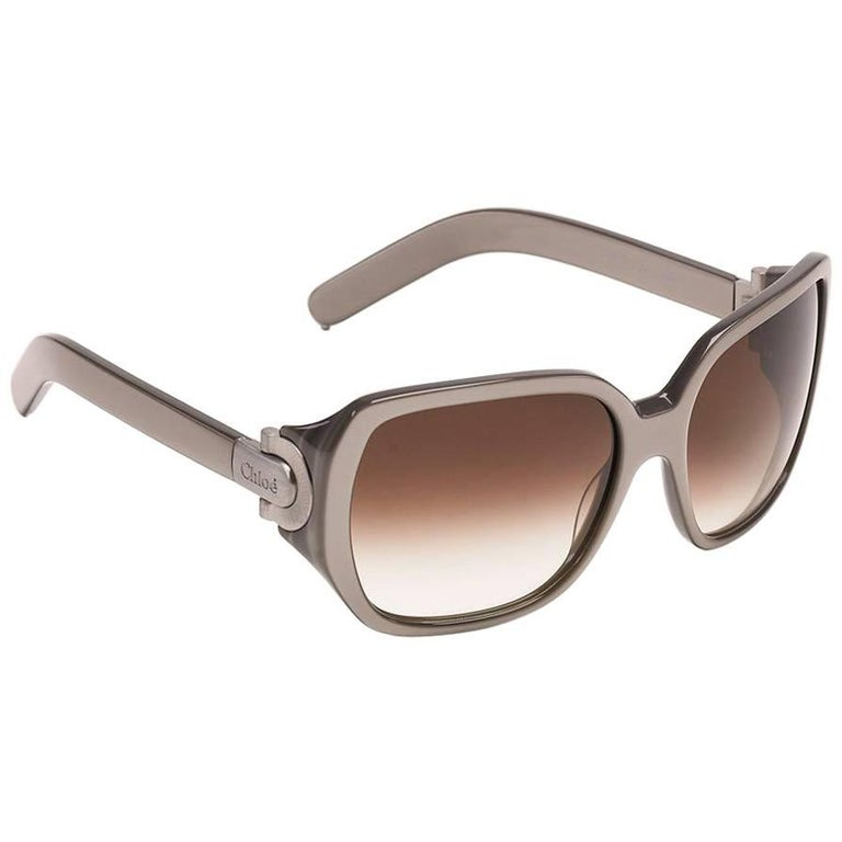 New Chloe Silver Beige Sunglasses With Case