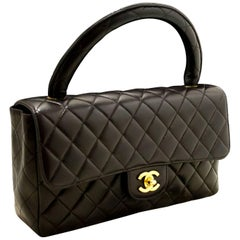 CHANEL Lambskin Handbag Bag Black Quilted Flap Leather Gold Hw
