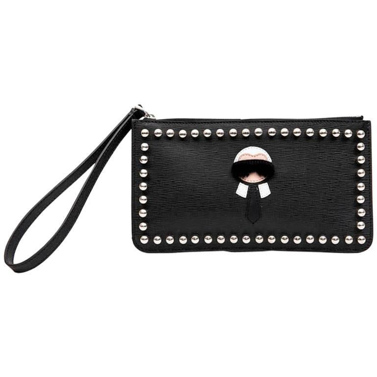 FENDI 'Karlito' by Karl Lagerfeld Clutch in Black Studded Leather